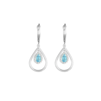 Blue Topaz Fashion Dangle Earrings in 10K White Gold