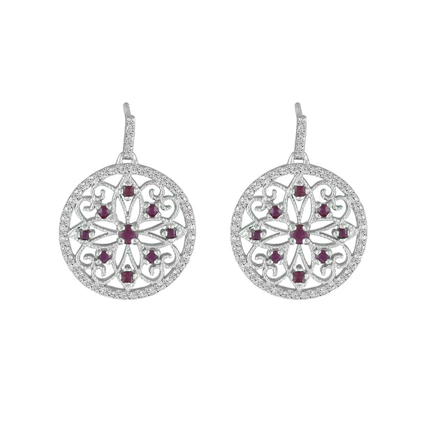 Genuine Ruby and Diamond Medallion Earrings in 10K White Gold