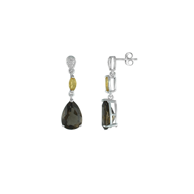 Citrine, Smokey Topaz Diamond Accent Sterling Silver Earrings