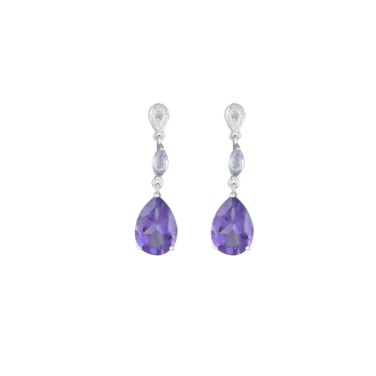 Purple and Pink Amethyst Fashion Drop Earrings in 10K White Gold