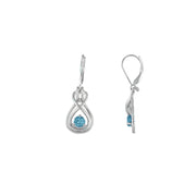 Blue Topaz Dangle Earrings - Blue Topaz and Diamond Earrings in Silver