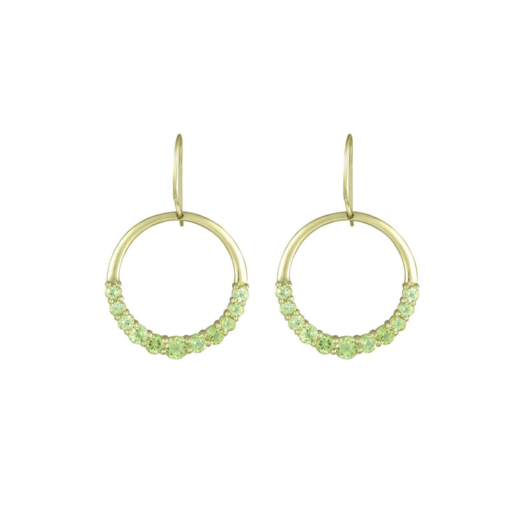 Graduated Peridot Fashion Dangle Earrings in 10K Yellow Gold