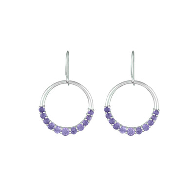 Graduated Amethyst Fashion Dangle Earrings in 10K White Gold
