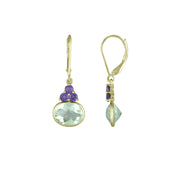 10K Yellow Gold Dangle Earrings with Amethyst and Green Amethyst