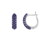Sterling Silver Amethyst Mini Hoop Earring