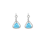 Blue Topaz and Diamond Earrings in Sterling Silver