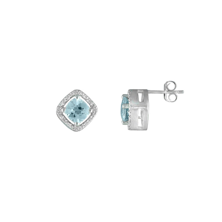 Aquamarine and Diamond Sterling Silver Studs