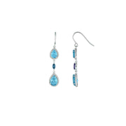 Blue Topaz, London Blue Topaz and Diamond Earrings