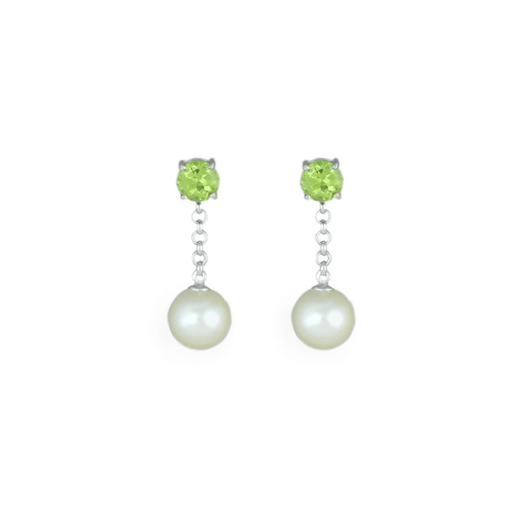 Pearl and Peridot Drop Earrings in Sterling Silver