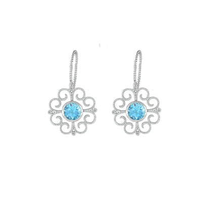 Blue Topaz and Diamond Accent Fashion Earrings in Silver