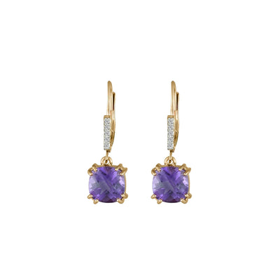 Amethyst and Diamond Accent Dangle Earrings in 10K Rose Gold