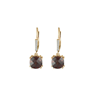 Garnet and Diamond Accent Dangle Earrings in 10K Rose Gold