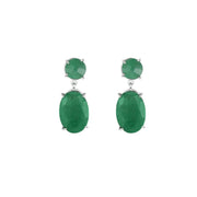 Rough Cut Genuine Emerald Earrings in Sterling Silver