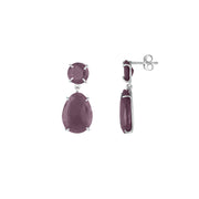 Rough Cut Genuine Ruby Earrings in Sterling Silver