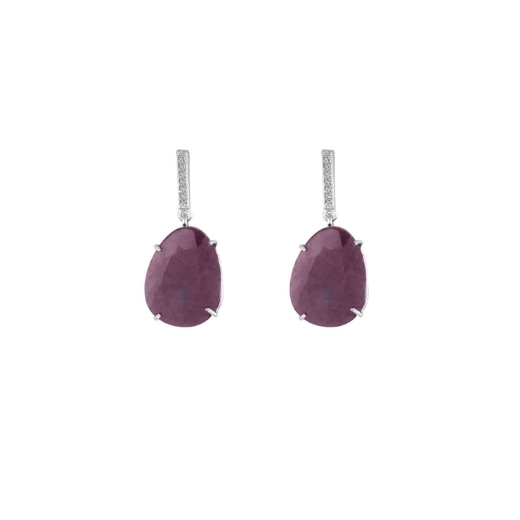 Rough Cut Organic Ruby and Diamond Earrings in Silver