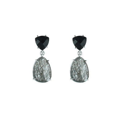 Black Onyx and Black Rutilated Quartz Earrings in Silver