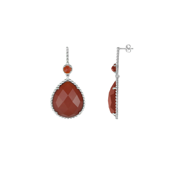 Red Carnelian Dangle Fashion Earrings In Sterling Silver