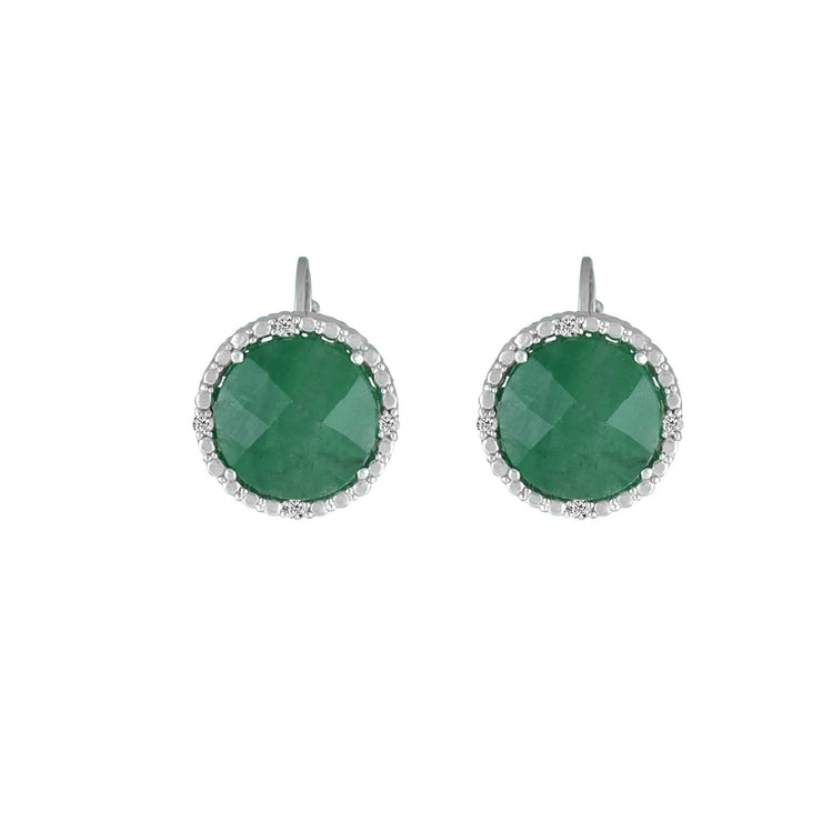 Emerald and Diamond Accent Earrings in Sterling Silver
