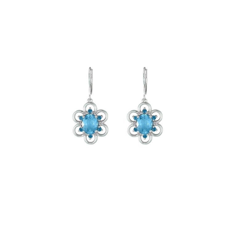 Blue Topaz and Created White Sapphire Earrings in Silver