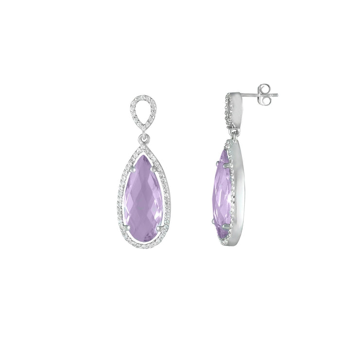 Pink Amethyst and Created White Sapphire Earrings in Silver