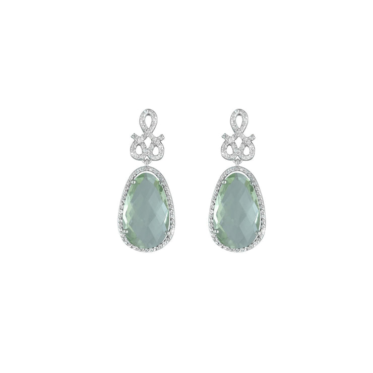 Green Amethyst and Created White Sapphire Earrings in Silver