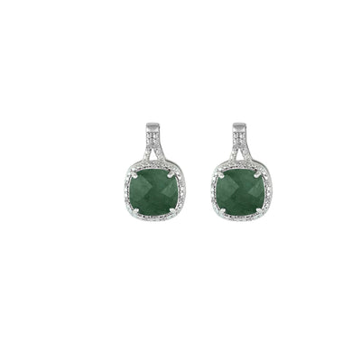 Genuine Emerald and Diamond Accent Silver Earrings