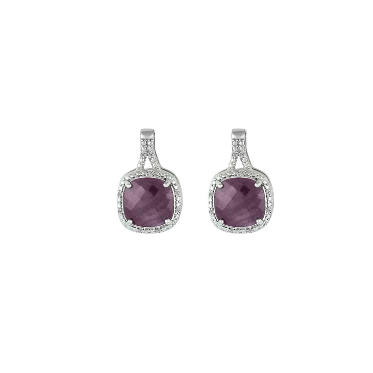 Genuine Ruby and Diamond Accent Silver Earrings