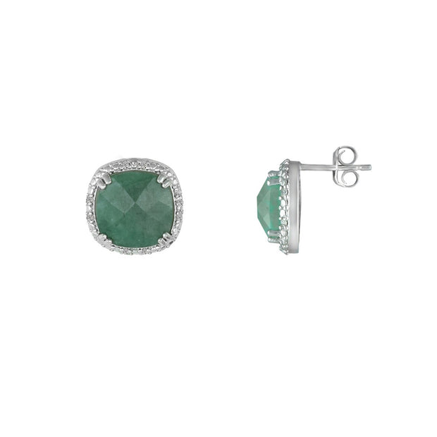 Genuine Emerald and Diamond Accent Stud Earrings