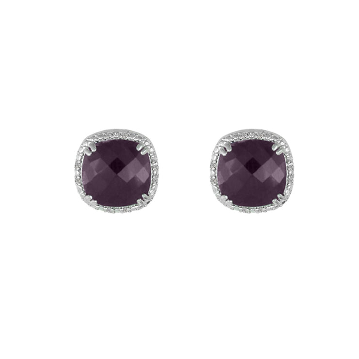 Genuine Ruby and Diamond Accent Stud Earrings