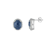 Genuine Sapphire and Diamond Accent Stud Earrings
