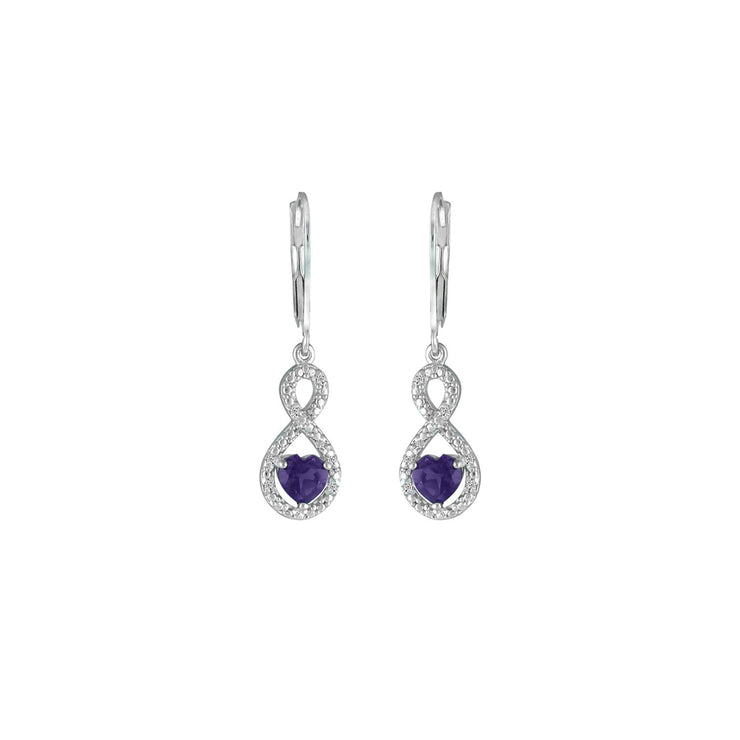 Amethyst Infinity Earrings - Amethyst and Diamond Infinity Heart Earrings