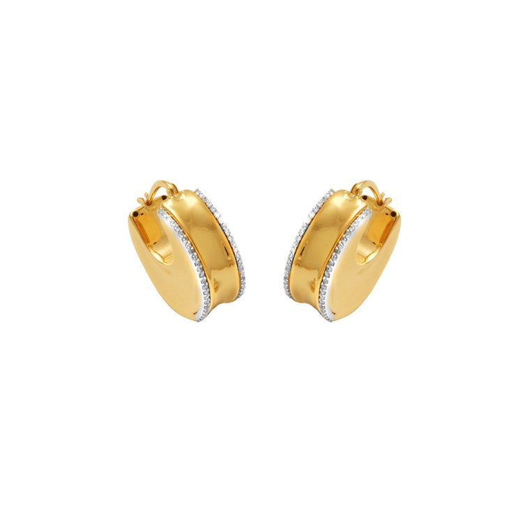 14K Yellow Gold and Diamond Innovoro® Lightweight Huggy Earrings