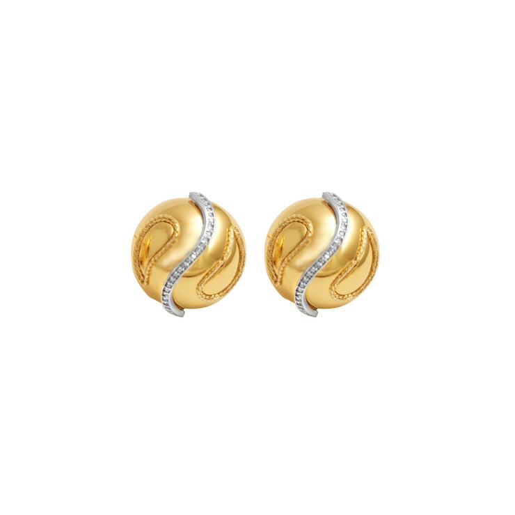 14K Yellow Gold and Diamond Innovoro® Lightweight Stud Earrings