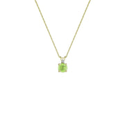 Peridot Necklace - Peridot & Diamond Accent Stud Pendant in 10k Yellow Gold