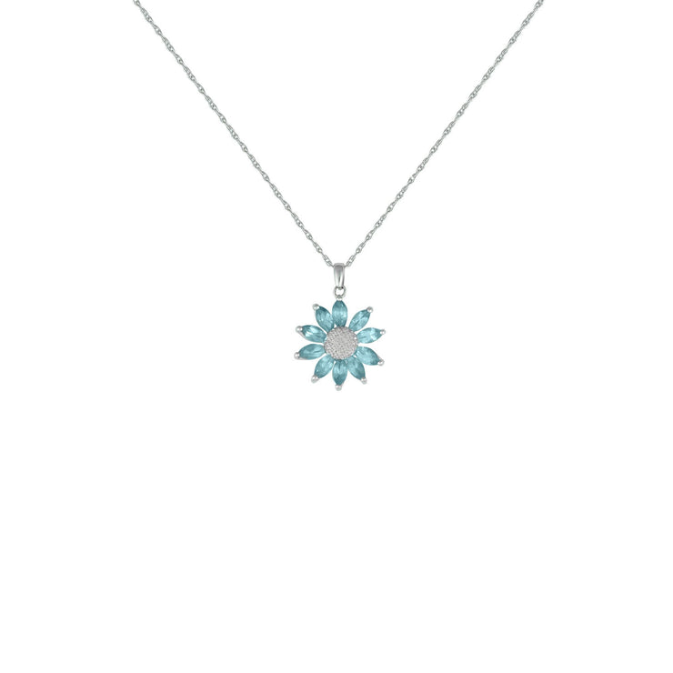 Blue Topaz and Diamond Flower Pendant in Sterling Silver