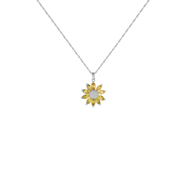 Citrine Flower Necklace - Citrine & Diamond Flower Pendant in Silver