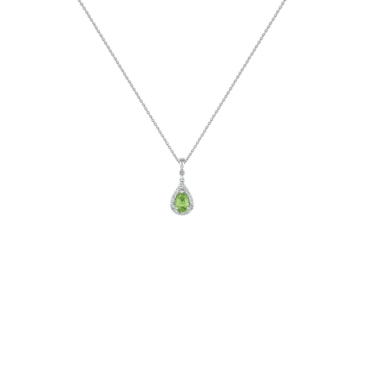 Peridot and Diamond Accent Pendant in Sterling Silver