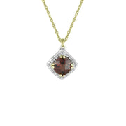 Garnet and Diamond Fashion Pendant in 10K Yellow Gold