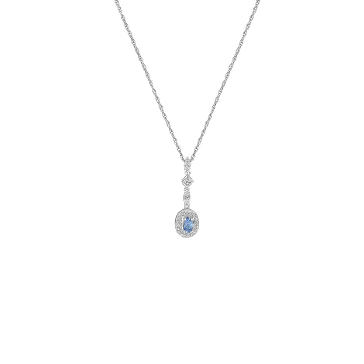 Tanzanite and Diamond Fashion Drop Pendant in 10K White Gold