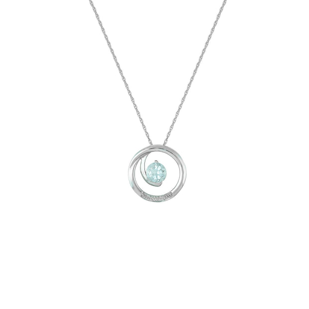 Aquamarine and Diamond Accent Fashion Pendant in 10K White Gold
