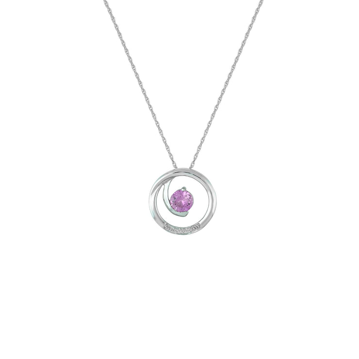 Created Pink Sapphire and Diamond Accent Fashion Pendant in 10K White Gold