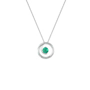 Created Emerald and Diamond Accent Fashion Pendant in 10K White Gold