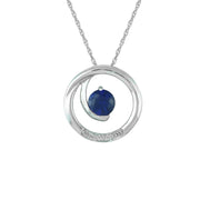Created Sapphire and Diamond Accent Fashion Pendant in 10K White Gold