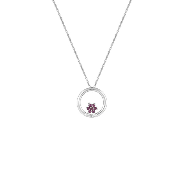 Ruby and Diamond Fashion Pendant in 10K White Gold