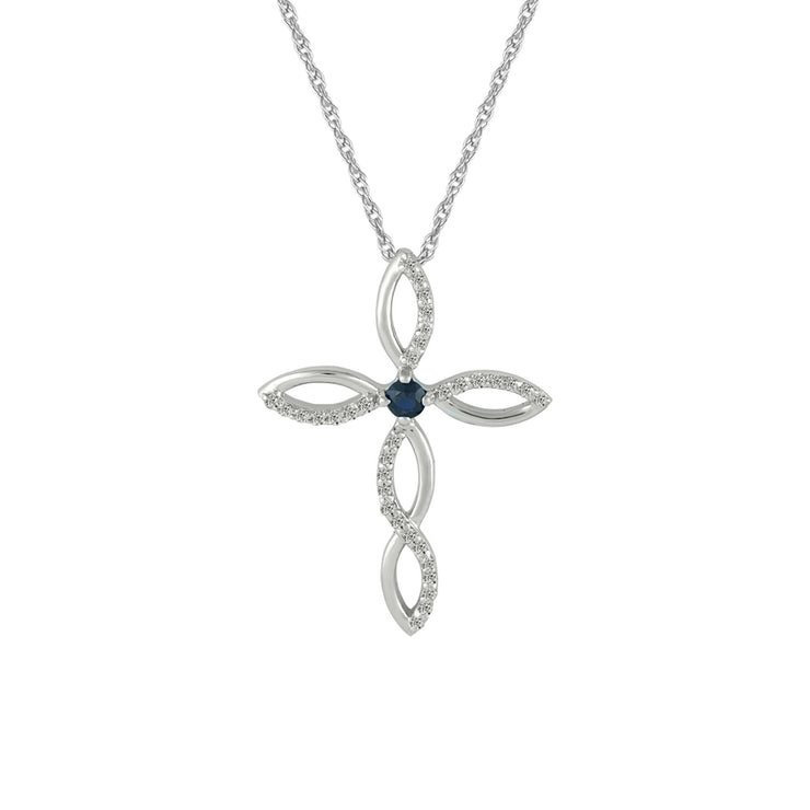 Blue Sapphire and Diamond Accent Cross Pendant in 10K Gold