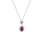 Created Ruby and Diamond Fashion Drop Pendant in 10K White Gold
