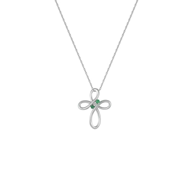 Emerald and Diamond Accent Cross Pendant in 10K Gold