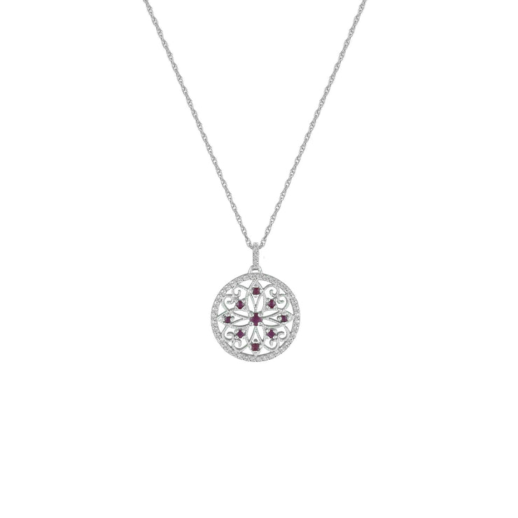 Ruby and Diamond Fashion Medallion Pendant in 10K White Gold