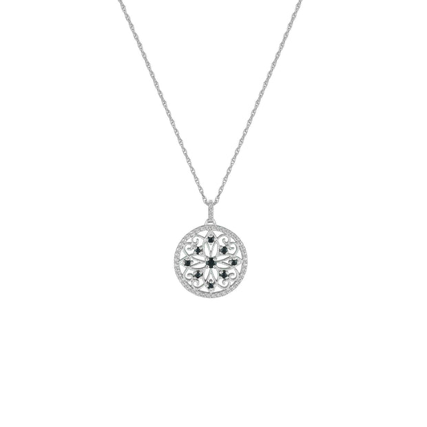 Sapphire and Diamond Fashion Medallion Pendant in 10K White Gold
