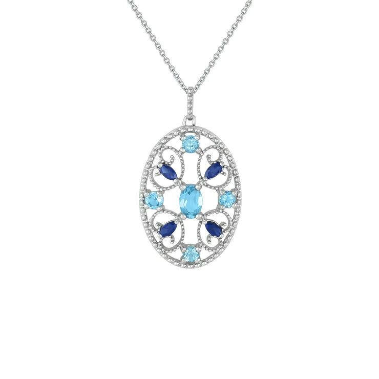 Blue Topaz and Sapphire and Pendant in Silver